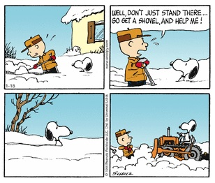 snoopy snow shovel
