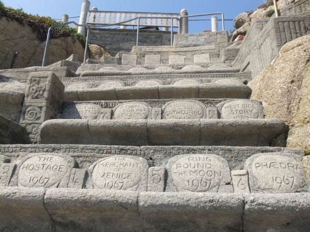 carved seats in the Minack theatre